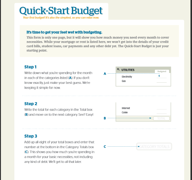 Quick Start Budget File Dave Ramsey