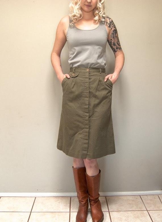 Vintage 80s Army Khaki Green Cargo Style A-Line Skirt