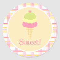 Sweet Ice Cream Birthday Cupcake Toppers/Stickers