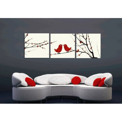 Printed Flower Canvas Art With Stretched Frame Set Of 3 Wall Art