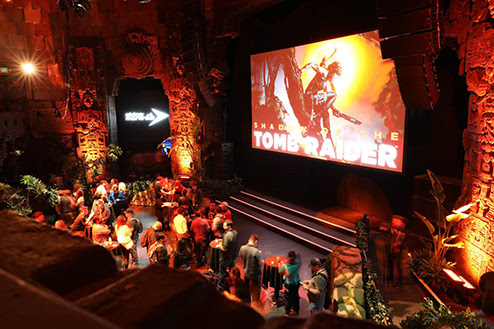 Shadow of the Tomb Raider party at the Mayan Theater