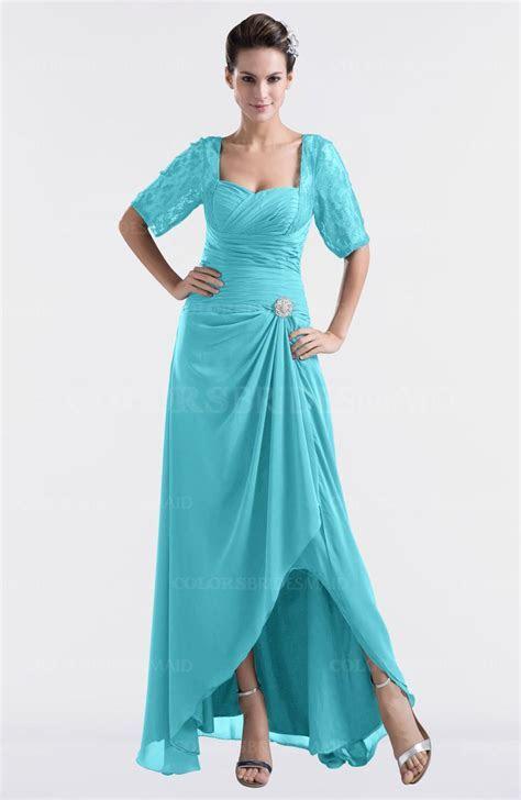 Turquoise Modest Sweetheart Short Sleeve Zip up Floor
