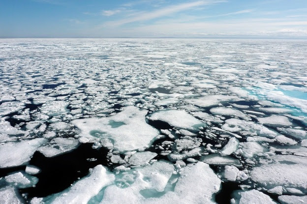Over the course of the past several decades, temperatures in the Arctic have been rising faster than anywhere else. By mid-July, the ice in the Northwest Passage melts rapidly. Here, a vista of ice from the deck of the Louis.