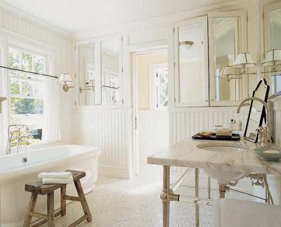 Suzie: Jeffrey Bilhuber   lovely white cottage bathroom design with calcutta marble bathroom ...