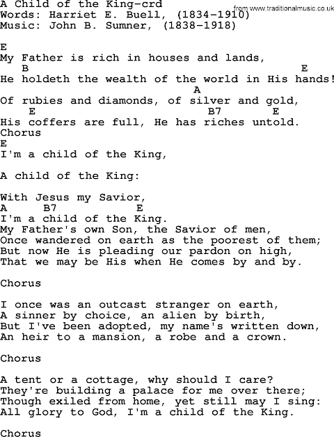 Child Of The King Lyrics And Chords