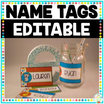 Editable Name Tags by The Teacher Gene   Teachers Pay Teachers