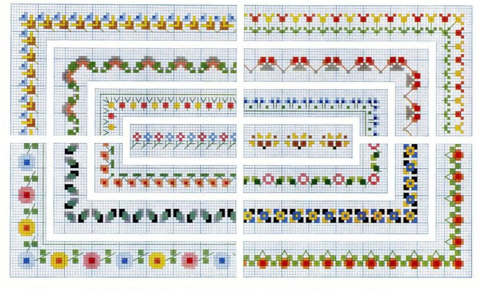 Cross Stitch Flower Border Pattern Charts Vintage Crafts And More