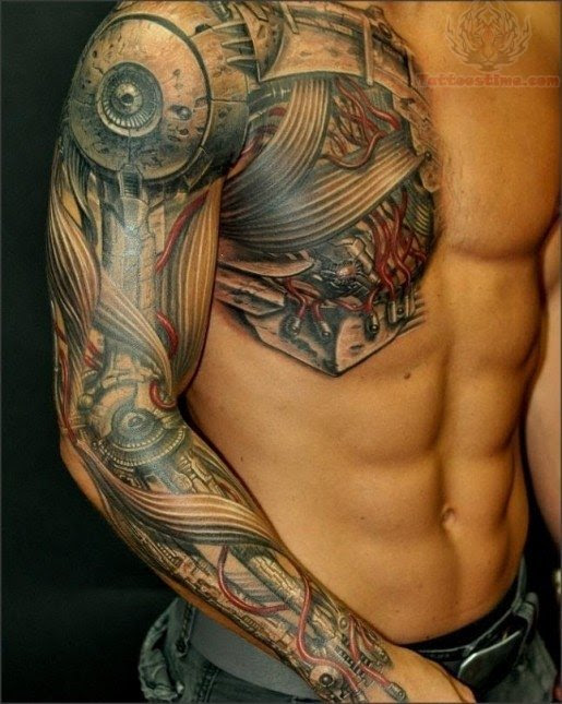 Bio Mechanical Tattoo On Sleeve And Chest