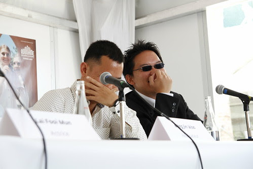 Ming Jin and I talking smack during The Tiger Factory press conference