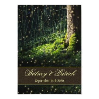 "Moss Enchanted Forest Firefly Wedding Invitations 5"" X 7"" Invitation Card"