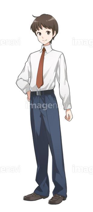 手を腰にあてる男子学生の画像素材10148991 イラスト素材なら
