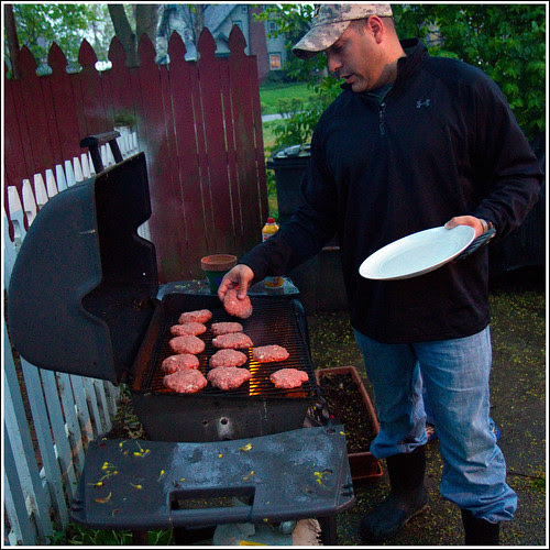 Todd Grilling Burgers