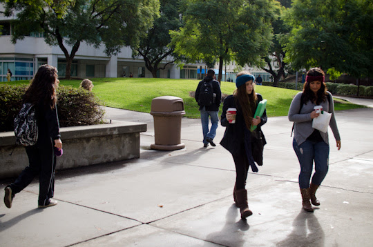 In file photo, Cal State Fullerton students walk on campus.  The CSU says they still welcome graduating 2015 high school students to their campus if they were admitted despite not taking exit exam.