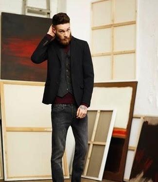 Black Jacket Blue Jeans Brown Shoes