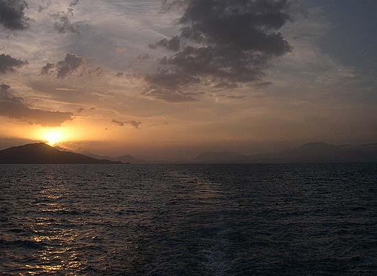 Turkey (old Greater Armenian province), sunset on the way across Lake Van from Tatvan to Van