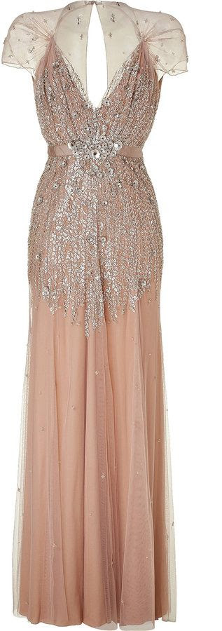 Circa 1920s. Sequined Blush Pink Gown.
