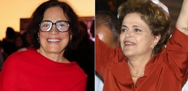 Montagem com a atriz Regina Duarte e a presidente afastada Dilma Rousseff