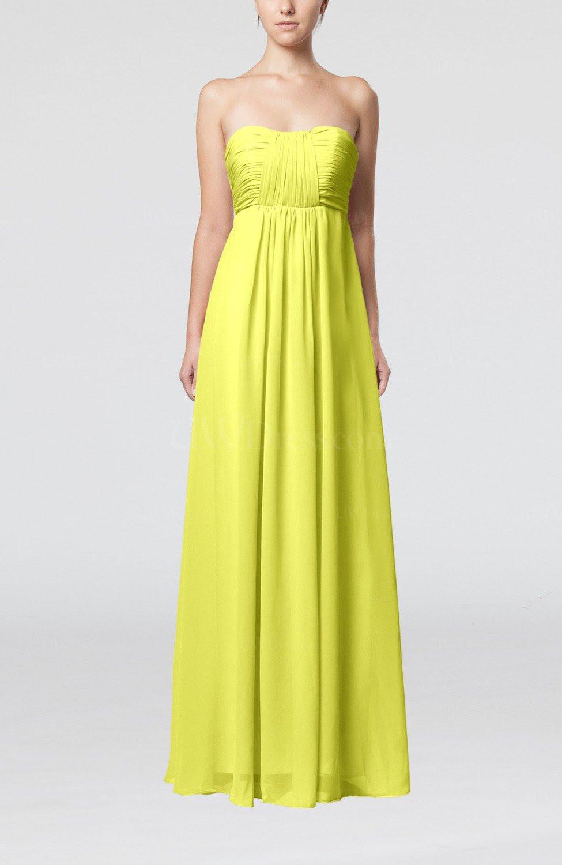 pale yellow plain empire sleeveless zip up floor length