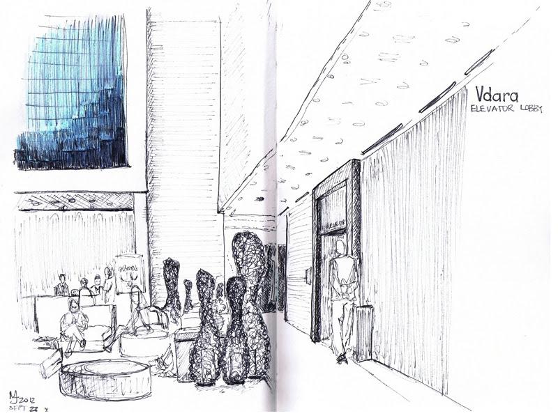 MJ SKETCHBOOK | Urban Sketching - Las Vegas Vdara elevator lobby