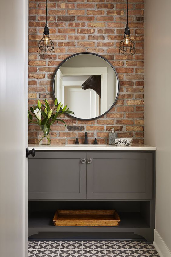 25 Stylish And Trendy Bathroom With Exposed Brick Tiles ...