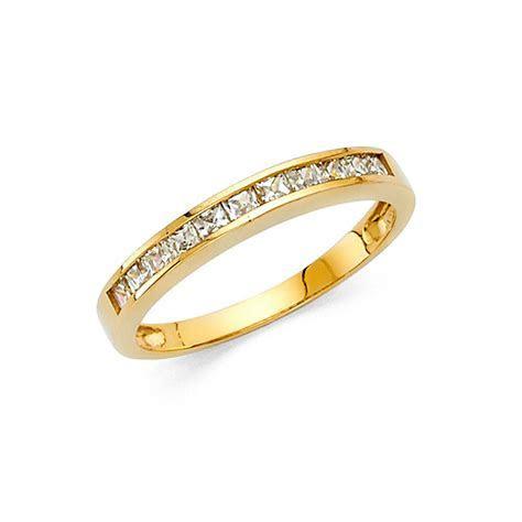 2mm 14k Yellow Gold 0.75 Ct Diamond Princess Cut Channel