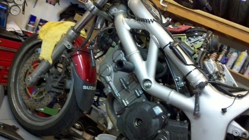 SV650 at Lloyd's getting a tune up