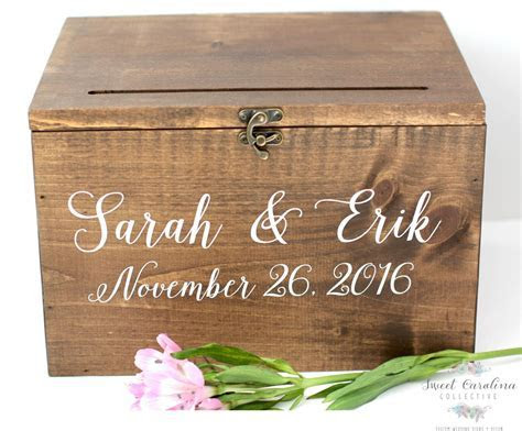 Wood Wedding Card Box with Lid   Wedding Money Box