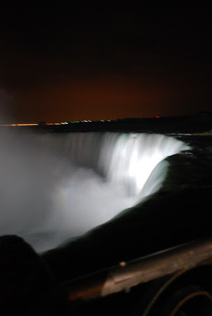 Horseshoe Falls illuminated at night.