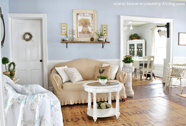 Farmhouse Living Room with Cottage Style