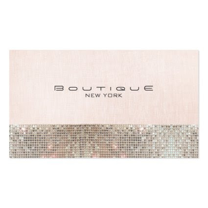 Faux Sequins and Linen Cute Pink Chic Boutique Business Card Template