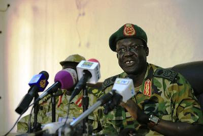 Chief of Staff of South Sudan's army, General James Hoth Mai speaks during a media update, with regards to the current fighting with rebels in north of the country, in Juba January 2, 2014. by Pan-African News Wire File Photos