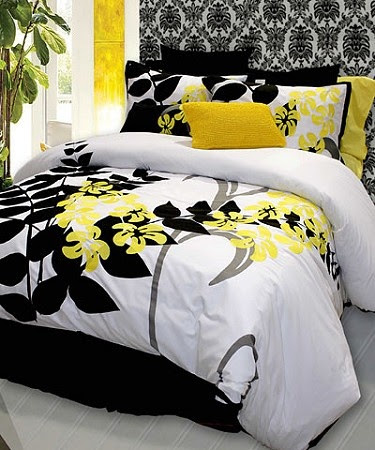 Yellow, grey, black and white bedding  Can be found here  http://www.heirloomlinens.com/product.aspx?productid=247=31