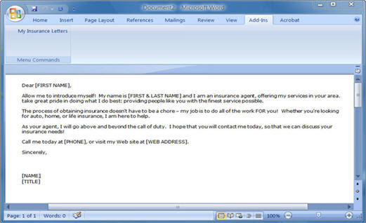 Insurance Letter Templates Software