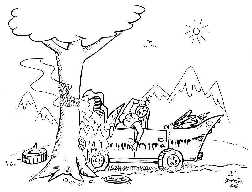 Car Crash Drawing Sketch Coloring Page