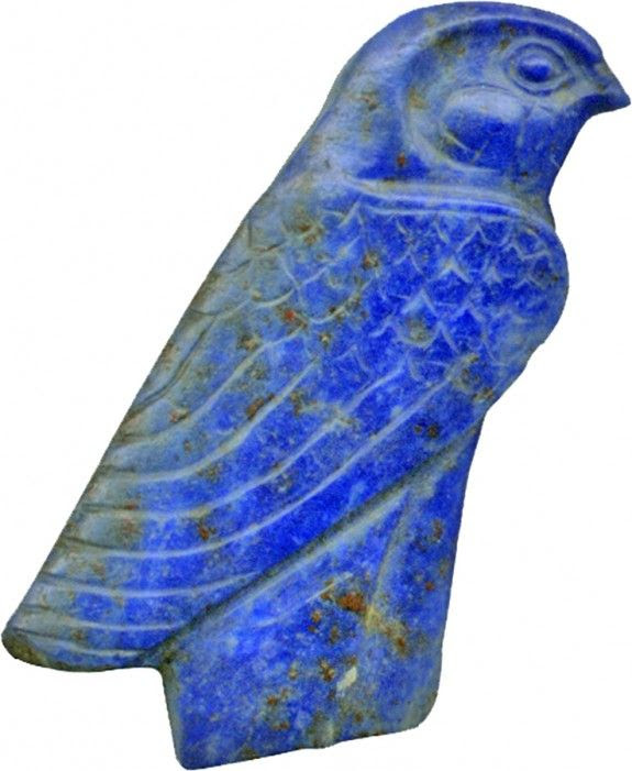 Lapis lazuli falcon inlay, made in Egypt, 1450-1185 BCE
