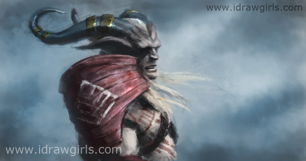 digital painting Dragon Age 2 Qunari