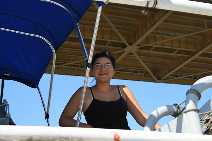 Makayla on the Flying Bridge