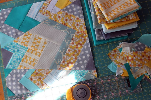 Improv Chevron Bee Block -- stash pulls and more scraps!