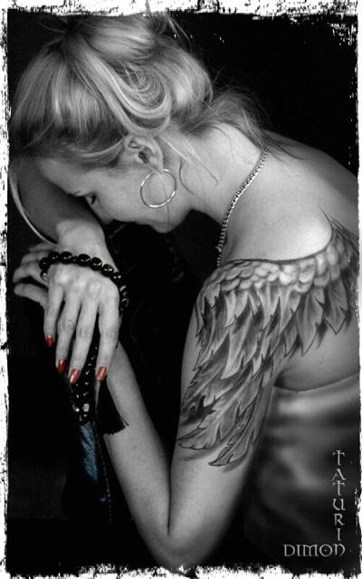 Womens Full Hand Angel Tattoo On Shoulder Tattoomagz