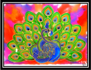 Peacock Glass Painting Creative Art