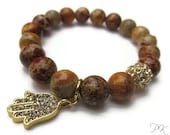 High Five. Gemstone Beaded Stretch Bracelet with Charm - PynkKrush