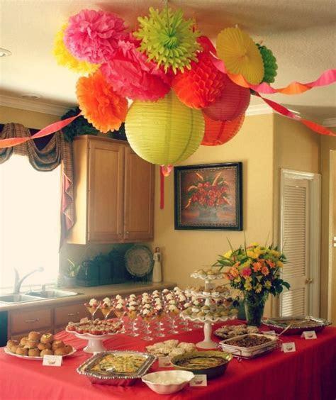 cute brunch ideas: the ceiling decor, fruit parfaits and