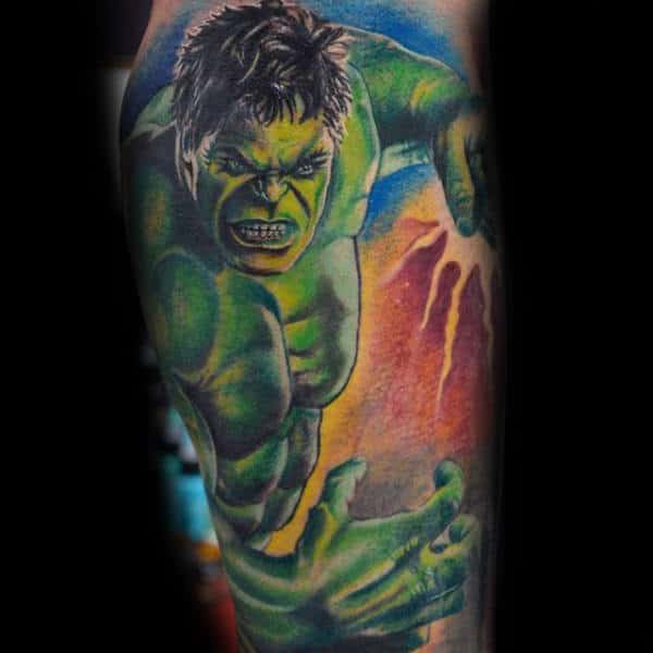 100 Incredible Hulk Tattoos For Men - Gallant Green Design ...