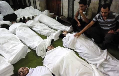 Cuerpos de algunos de los manifestantes fallecidos durante los enfrentamientos con el Ejército.
