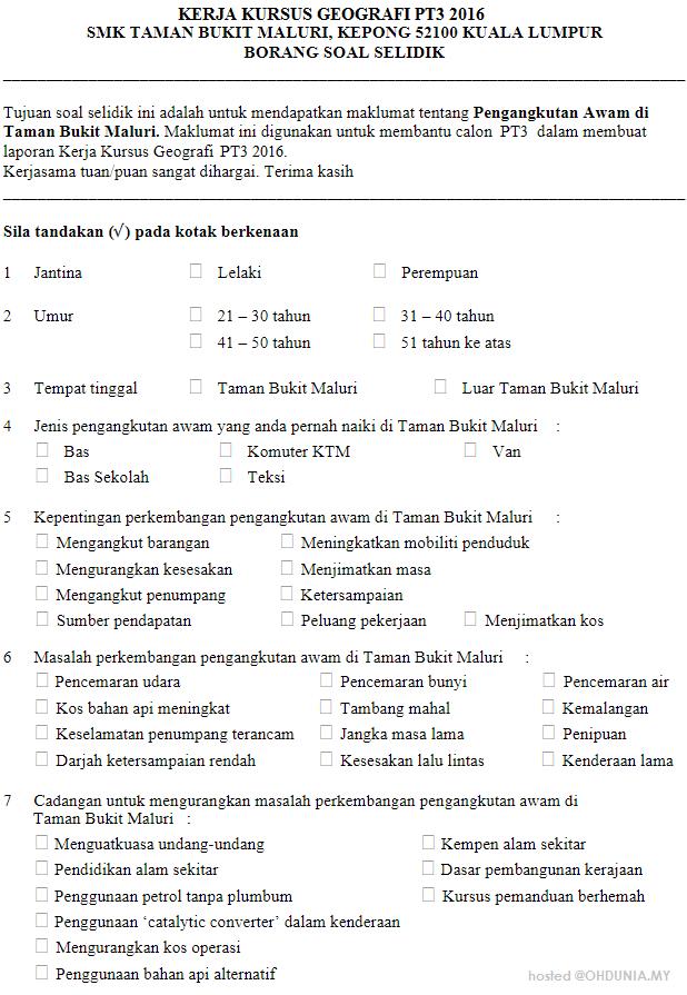 Borang Soal Selidik Sistem Pengangkutan PT3 - IDEA TERKINI