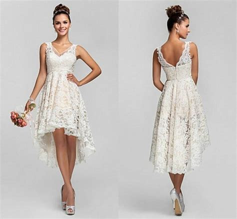 Short Sexy V Neck White/Ivory Lace Wedding Dress Bridal