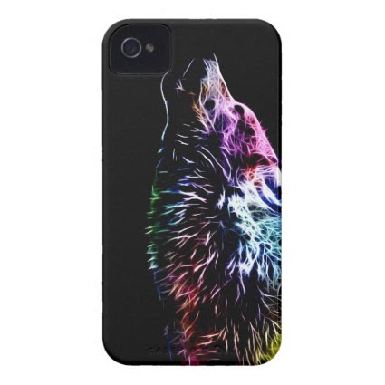 Rainbow Fractal wolf Case-Mate iPhone 4 Cases