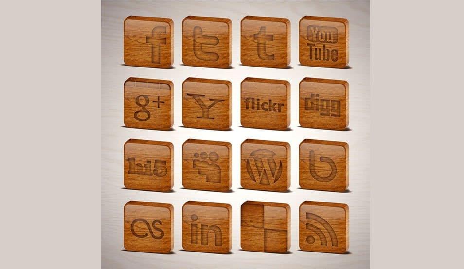 Wooden Tiles Social Media Icons