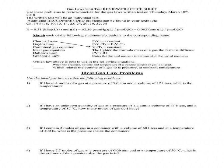 Ideal Gas Law Worksheet 14 4 Answer Key - worksheet