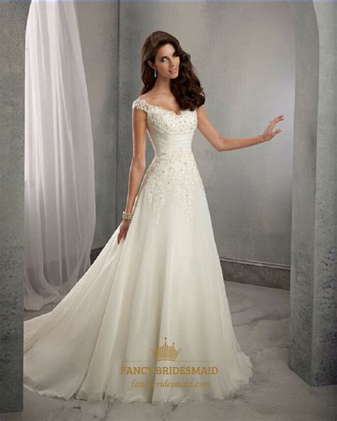 Elegant Cap Sleeve V Neck Ruched Waist A Line Wedding